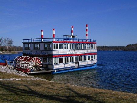 Boat, Ship, Paddle Wheeler, Riverboat, Dock, River