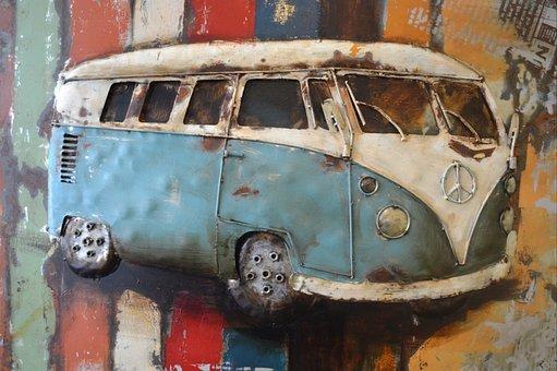 Car, Art, Work Of Art, Painting, Van, Volkswagen