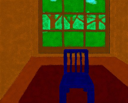 Blue, Chair, Empty, Room, Painting, Teddy, Window