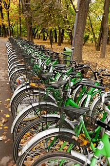 Bicycles, Rental, Cycling, Sport, Urban, Public, Row