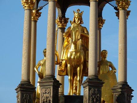 Emperor, Statue, Gold, Magdeburg, Saxony-anhalt