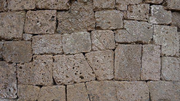 Stone Wall, Etruscan, Antique, Old, Raw, Tuff