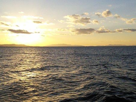 Rin Rinku Town, Sunset, Sea, Osaka Bay, Awaji Island