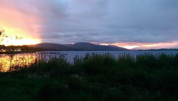 Loch Lomond, Sunset, Lake, Loch, Scotland, Water