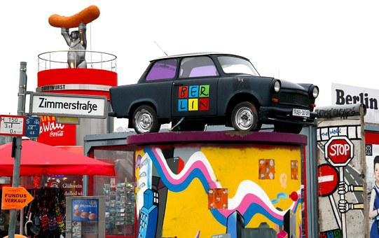 Berlin, Germany, Characters, Car, Trabant, Sausage