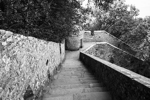 Stairs, Desending, Down, Up, Travel, Path, Journey