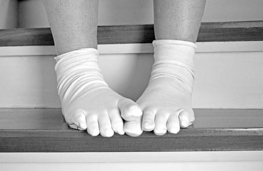 Stairs, Feet, Stand, Wait, Woman, Socks, Stockings, Ten