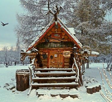 Teremok, House, Cottage, Window, Winter, Summer, Stairs