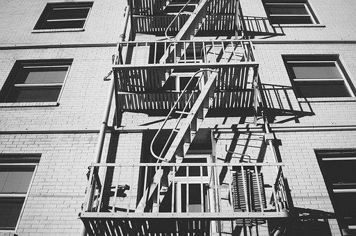 Stairs, Exterior, Building, Escape, Usa, America