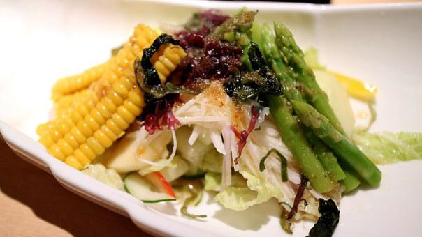 Caesar Salad, Asparagus, Corn, Lettuce