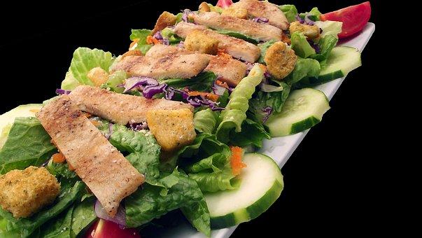 Caesar, Chicken, Salad, Black, Background, Food, Plate