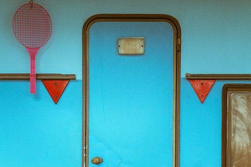 Door, Blue, Entrance, Camper, Trailer, Racket, Vivid
