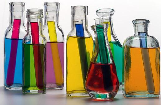 Still Life, Bottles, Color, Colored Water, Test Tubes