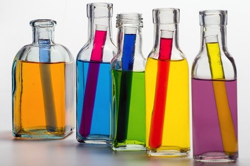 Still Life, Bottles, Color, Colored Water, Test Tubes