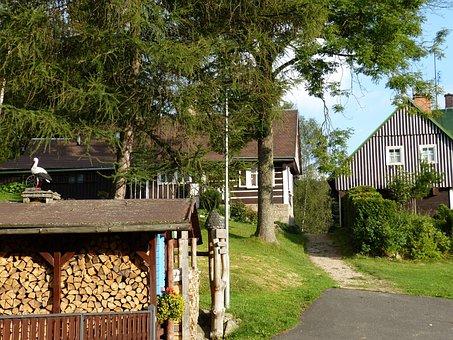 Village, Poland, Home, Idyllic, Wood, Firewood, Away