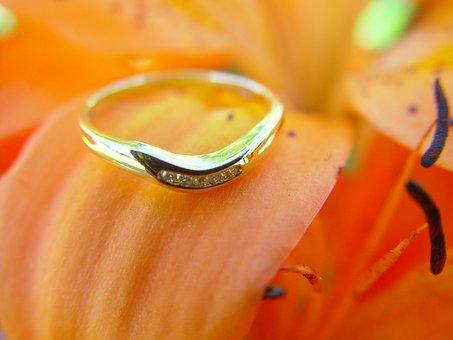 Wedding Ring, Ring, Flower, Gold Ring, Gold Diamond