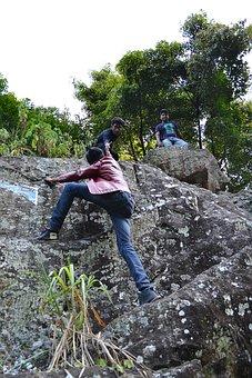 Climb, Rock, Hard, Friends, Help, Pull, Pull Up, Jeans