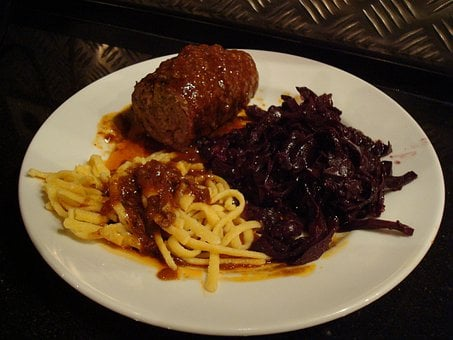 Roulades, Spätzle, Red Cabbage, Lunch, Eat, Delicious