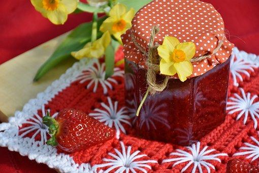Strawberry Jam, Strawberries, Fruit, Red, Breakfast