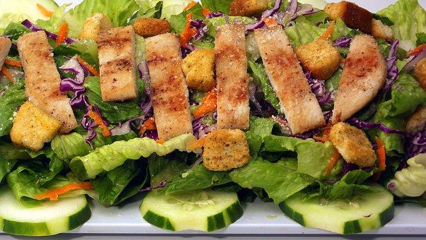 Caesar, Chicken, Salad, Food, Plate, Meal, Cuisine
