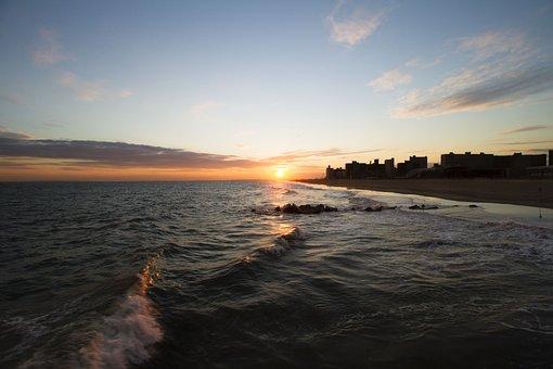 Wave, Atlantic, Conney Island, Ocean, Water, Sea, Sky