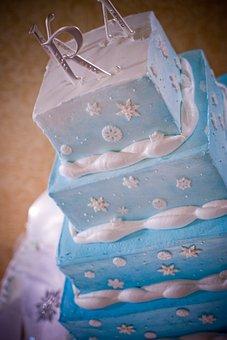 Wedding, Cake, Blue, Square, Layers, Sweet, Food, White