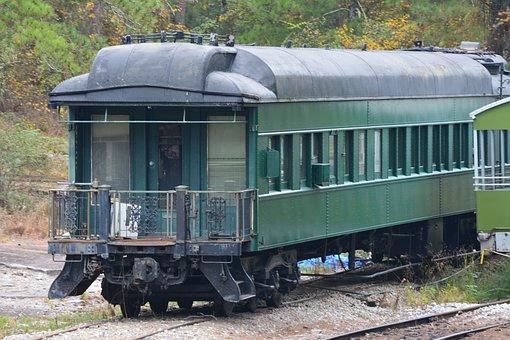 Train, Rustic, Green, Railroad, Transport, Antique
