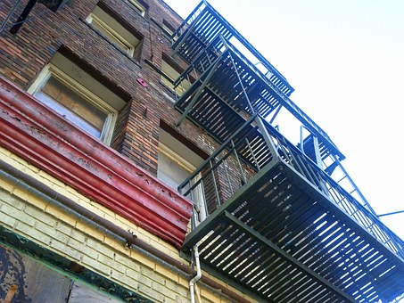 Fire Escape, Old Building, Downtown, Aging, Urban, City