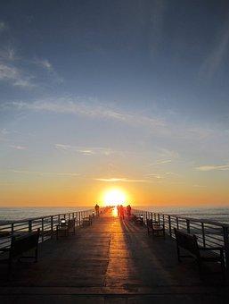 Jetty, Pier, Wooden, Sunset, People, Strolling, Walking