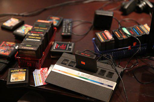 Atari 2600, Vintage Games, Dig Dug, 8 Bit, Cartridges