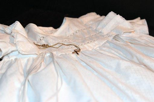 Cross, Christening Gown, Gold Cross, Chain