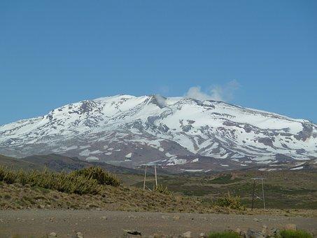 Argentina, Volcano, Copahue, Andes, Snow, Steam