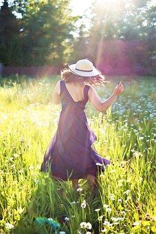 Pretty Woman In Field, Dancing, Sunshine, Long Gown