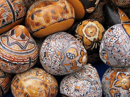 Colombia, Calabashes, Market, Engraving, Decoration