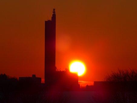 Sun, Glowing, Fireball, Sunset, Grain Silo