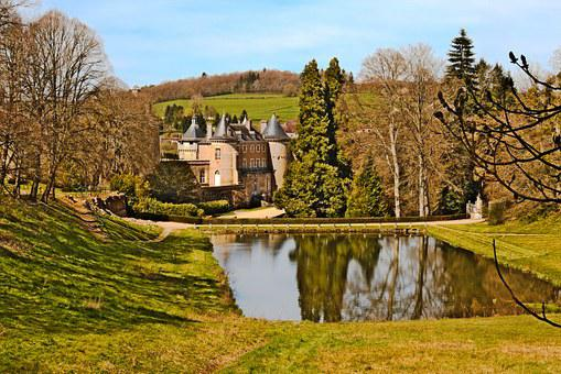 Castle, Chatelux, Yonne, Park, Monument, Water Plan
