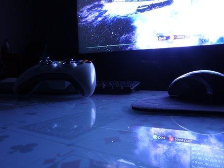 Gaming, Mouse, Keyboard, Monitor, Night, Computer