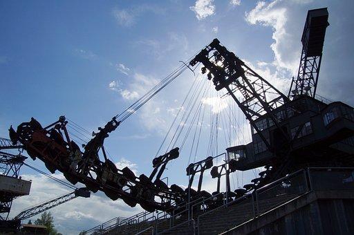 Excavators, Open Pit Mining, Brown Coal, Steel
