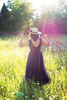 Pretty Woman In Field, Sunshine, Long Gown, Summer