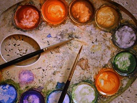 Color Palette, Range, Metal, Mix, Watercolour, Painting