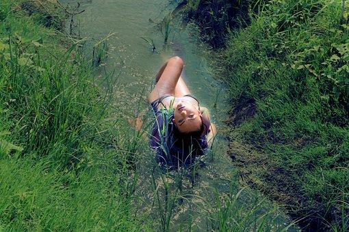 Girl, Water, Sensual, Swimsuit, Seduction, Wild, Nature