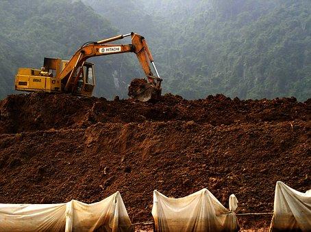Digging, Soil, Hill, Machine, Fishing Net, Frame, Land