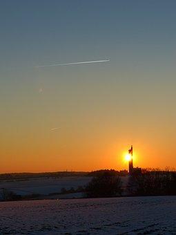 Sunset, Sun, Tower, Fireball, Sky, Aircraft, Contrail