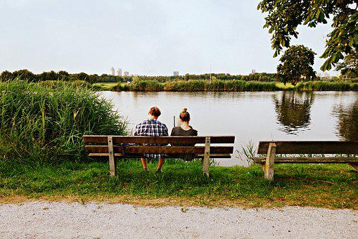 People, Couple, Man, Woman, Together, Bench, Sitting