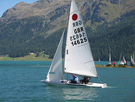 Sailboat, Passengers, Water, Mountains, Fireball Worlds