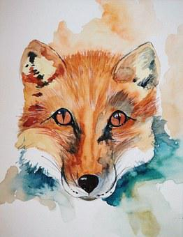 Fuchs, Animal, Image, Painting, Watercolour, Art