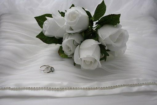 Bouquet, White Roses, Rings, Engagement Ring