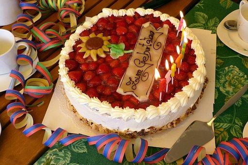 Birthday Table, Birthday Cake, Strawberry Pie, Birthday
