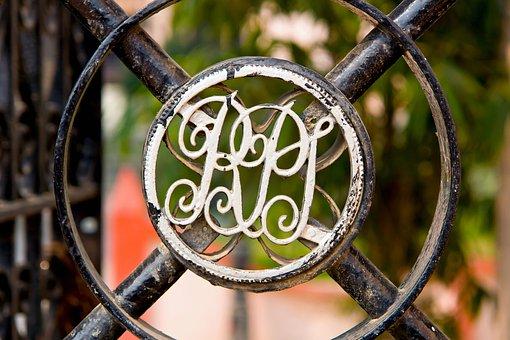 Door Shield, Door, Metal, Monogram, Old, Steel