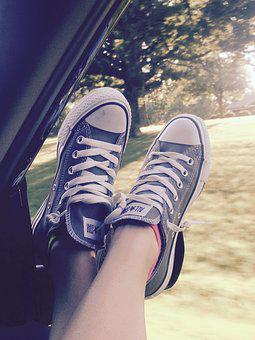 Converse, Shoes, Feet, Window, Car, Travel, Carefree